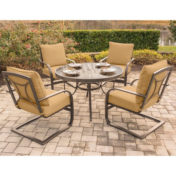 Hanover Summer Nights 5-Piece Dining Set with Four C-Spring Rockers and a 48 In. Glass-top Table