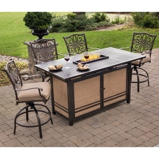 Traditions 5-Piece High-Dining Set in Tan with 4 Swivel Chairs and a 30,000 BTU Fire Pit Dining Table