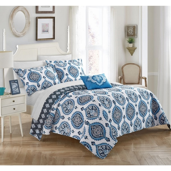Chic Home 4-piece Mulberry Blue Cotton Reversible Quilt Set