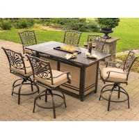 Traditions 7-Piece High-Dining Set in Tan with 30,000 BTU Fire Pit Table