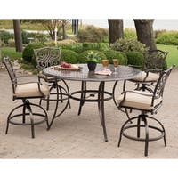 Hanover Traditions 5-Piece High-Dining Bar Set in Tan with 56 In. Cast-top Table