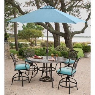 Traditions 5-Piece High-Dining Set in Blue with 4 Swivel Chairs, a 56 In. Cast-top Table, and a 9 Ft. Umbrella with Stand