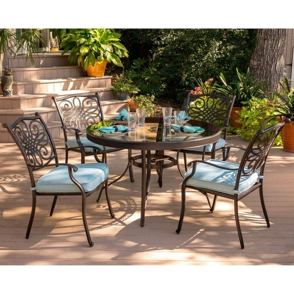 Hanover Traditions 5-Piece Dining Set in Blue with 48 In. Glass-top Table