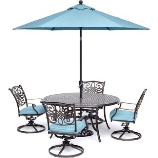 Hanover Traditions 5-Piece Dining Set with Swivel Rockers, Table Umbrella and Stand