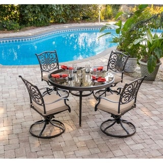 Hanover Traditions 5-Piece Dining Set in Tan with 48 In. Glass-top Table