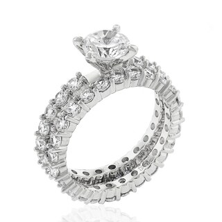 .925 Sterling Silver Rhodium Plated Cubic Zirconia Round Cut Pave Two Piece Bridal Set Ring