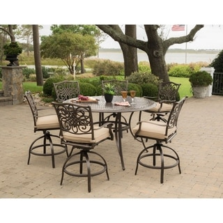 Traditions 7-Piece High-Dining Set in Tan with 6 Swivel Chairs and a 56 In. Cast-top Table