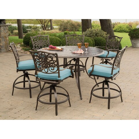 Traditions 7-Piece High-Dining Set in Blue with 56 In. Cast-top Table