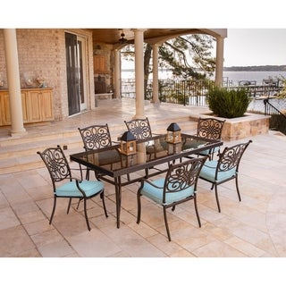 Hanover Traditions 7-Piece Dining Set in Blue with Extra Large Glass-Top Dining Table