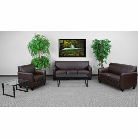 Benville Modern Brown Leather 3-piece Living Room Set