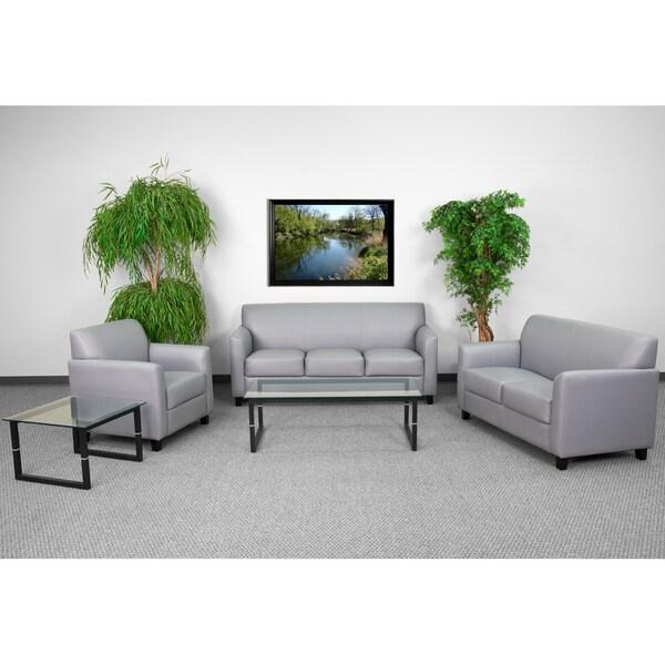Shop Benville Modern Grey Leather 3 Piece Living Room Set