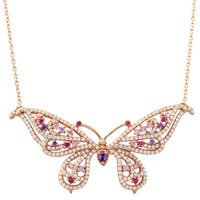 Luxiro Rose Gold Finish Sterling Silver Cubic Zirconia Butterfly Necklace
