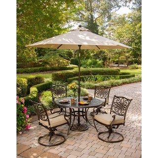 Hanover Traditions 6 Pc. Dining Set of 4 Aluminum Cast Swivel Chairs, 48 in. Round Table, and a Table Umbrella
