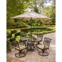 Hanover Traditions 5 Pc. Dining Set of 4 Aluminum Cast Swivel Chairs, 48 in. Round Table, and a Table Umbrella