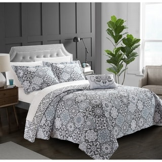 Chic Home 4-Piece Norwell Grey 100% Cotton Reversible Quilt Set