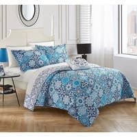 Chic Home 4-Piece Norwell Blue 100% Cotton Reversible Quilt Set