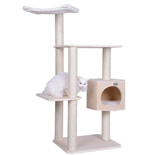 """Double Base Solid Wood 54"""" Cat Tree Tower"""