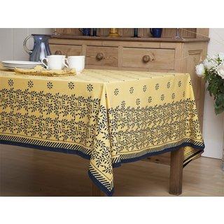 "Handmade Canary Midnight Handmade Yellow and Blue Tablecloth (84"" X 70"") (India)"