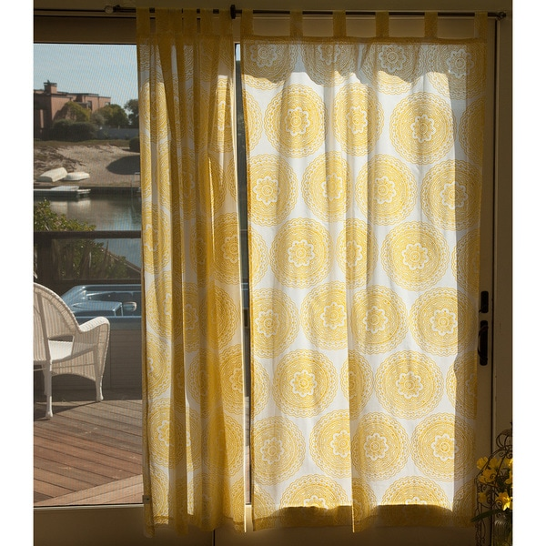 Shop Handmade Sheer Sunshine Yellow Handmade Mandala Curtain Panel
