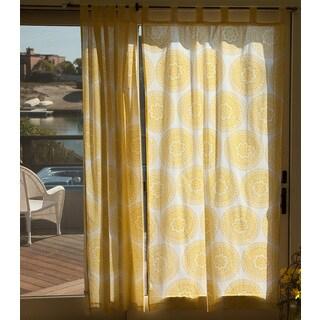 Handmade Sheer Sunshine Yellow Handmade Mandala Curtain Panel (46 X 84) (India)