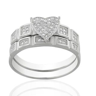 Sterling Silver Rhodium Plated Cubic Zirconia Heart Shape Pave Two Piece Bridal Set Ring