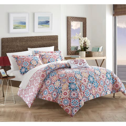 Chic Home 4-Piece Norwell Red 100 percent Cotton Reversible Quilt Set