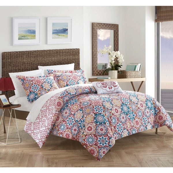 Chic Home 4-Piece Norwell Red 100% Cotton Reversible Quilt Set