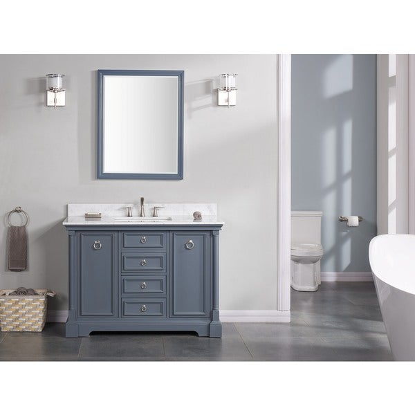 Ari Kitchen Bath Sebastian Grey Solid Wood Marble 48 Inch Double Bathroom