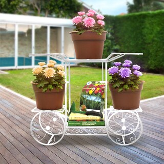 Sorbus® Garden Cart Stand & Flower Pot Plant Holder Display Rack, 6 Tiers, Parisian Style (White)