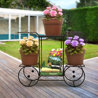 Sorbus® Garden Cart Stand & Flower Pot Plant Holder Display Rack, 6 Tiers, Parisian Style (Bronze)