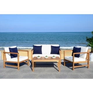 Safavieh Outdoor Living Montez White/ Navy 4 Pc Set With Accent Pillows
