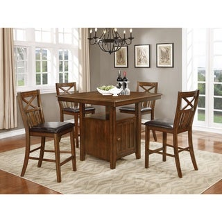 Nathaniel Home Bryson Collection Brown Wood Counter-height Dining Table Set with Storage
