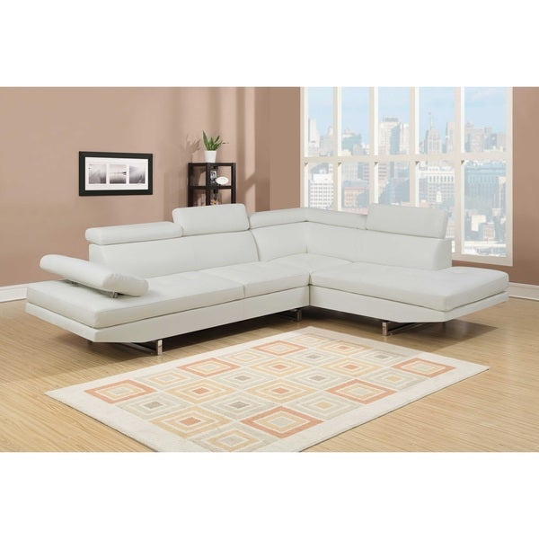 Delicieux Nathaniel Home Logan Collection White Bonded Leather 2 Piece Sectional Sofa  Set