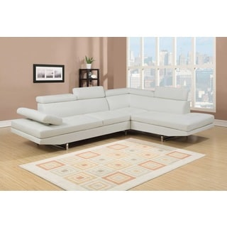 Elegant Nathaniel Home Logan Collection White Bonded Leather 2 Piece Sectional Sofa  Set