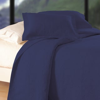 Indigo Matelasse Blue Cotton Quilt (Shams Not Included)