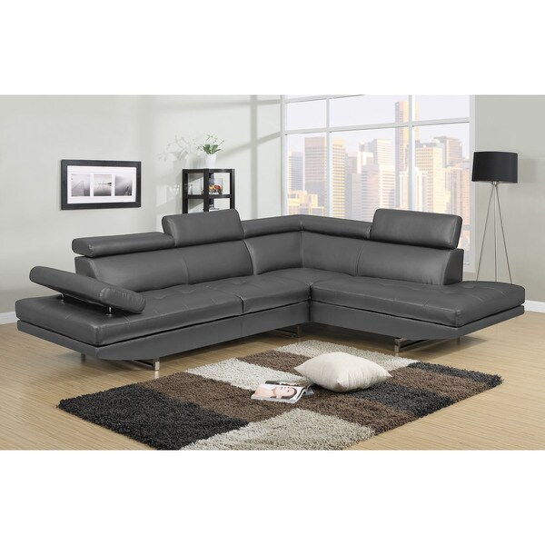 Logan Collection Grey Bonded Leather 2 Piece Sectional Sofa Set