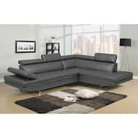 Logan Collection Grey Bonded Leather 2-piece Sectional Sofa Set