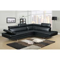 Clay Alder Home Garabit Black Bonded Leather 2-piece Sectional Sofa Set