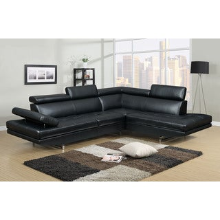 Clay Alder Home Garabit Black Bonded Leather 2 Piece Sectional Sofa Set