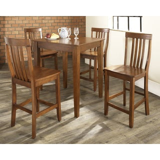 5 Piece Pub Dining Set with Tapered Leg and School House Stools
