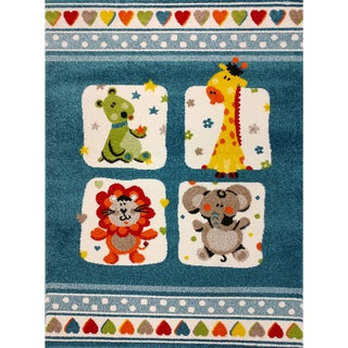 KC Cubs Nursery Animal Friends Blue Area Rug (Blue 53 x 73)