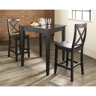3 Piece Pub Dining Set with Tapered Leg and X-Back Stools in Black Finish