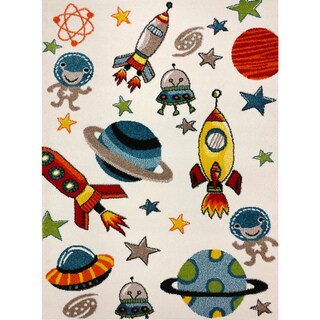 KC Cubs Aliens and Rocket in Outer Space Multicolored Area Rug