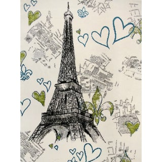 Grey Polypropylene Paris Eiffel Tower Modern Area Rug (5'3 x 7'3)