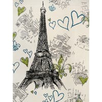 "Grey Polypropylene Paris Eiffel Tower Modern Area Rug - 5'3"" x 7'3"""