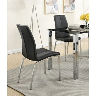 Morelle Faux-leather Dining Chair with Silvertone Metal Base (Set of 4)