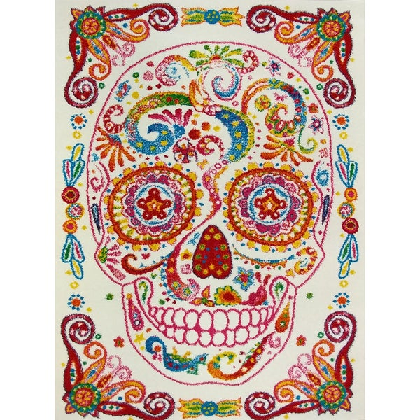 Kc Cubs Sugar Skull White Red Pink Area Rug