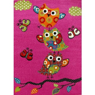 KC Cubs Modern Owl and Butterfly Pink Area Rug (5'3 x 7'3)