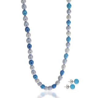 Pearls For You 2pc Multi-Blue Freshwater Pearl Necklace and Earring Set (6-7 mm)