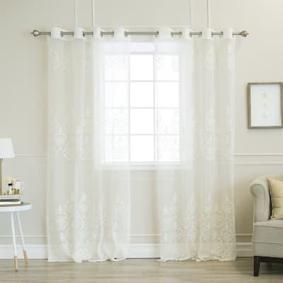 Aurora Home Sheer Scroll Pattern Grommet Top Curtain Panel Pair